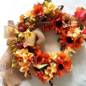Fall Sunflower Handmade Wreath Farmhouse Decor